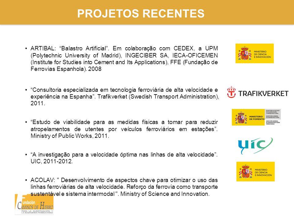 """PROJETOS RECENTES ARTIBAL: """"Balastro Artificial"""". Em colaboração com CEDEX, a UPM (Polytechnic University of Madrid), INGECIBER SA, IECA-OFICEMEN (Ins"""