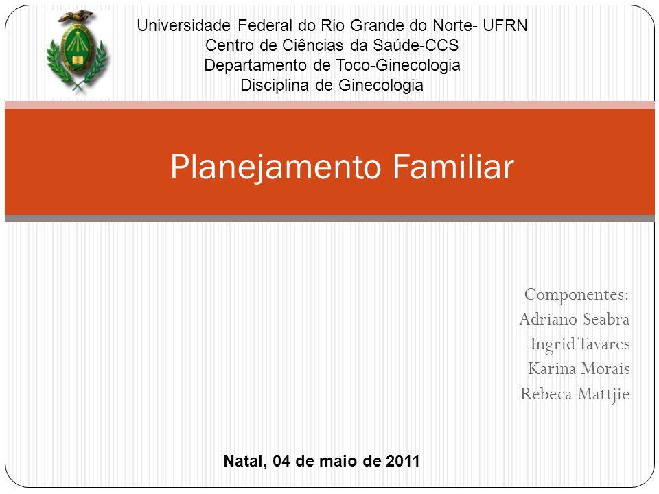 Componentes: Adriano Seabra Ingrid Tavares Karina Morais Rebeca Mattjie Planejamento Familiar Natal, 04 de maio de 2011 Universidade Federal do Rio Gr