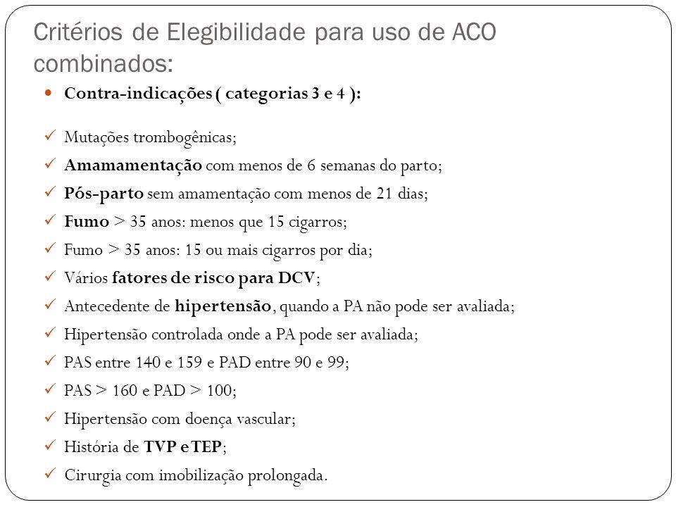 Critérios de Elegibilidade para uso de ACO combinados: Contra-indicações ( categorias 3 e 4 ): Mutações trombogênicas; Amamamentação com menos de 6 se