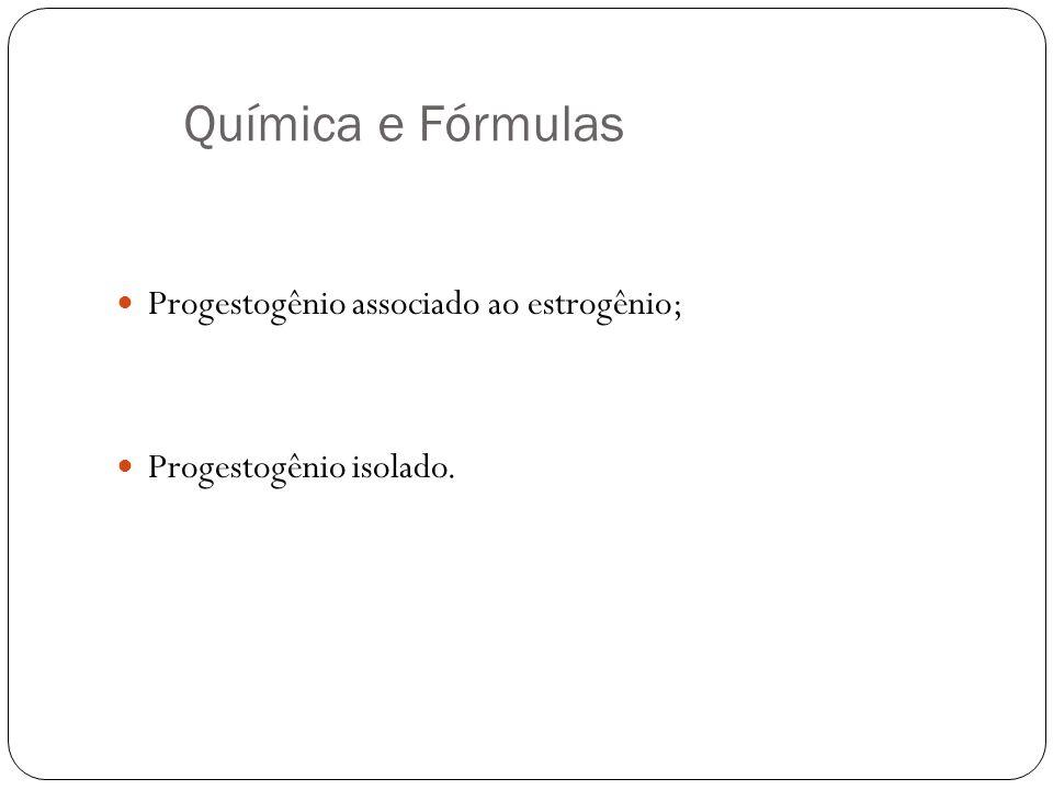 Química e Fórmulas Progestogênio associado ao estrogênio; Progestogênio isolado.