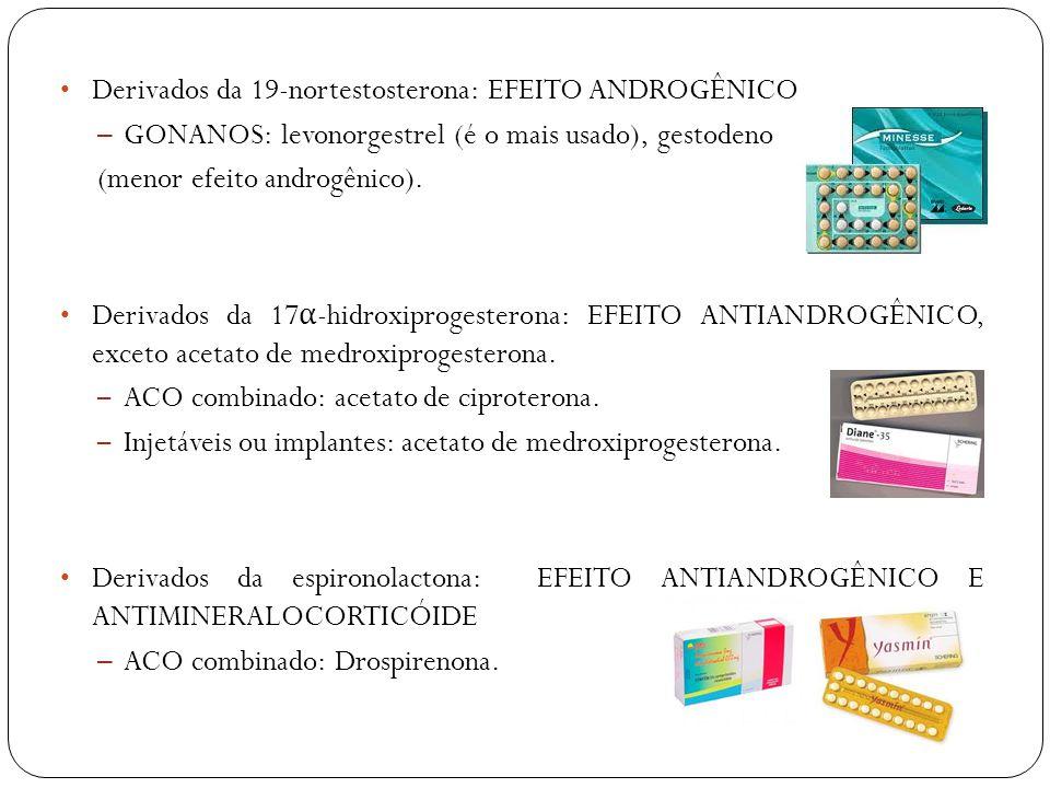 Derivados da 19-nortestosterona: EFEITO ANDROGÊNICO – GONANOS: levonorgestrel (é o mais usado), gestodeno (menor efeito androgênico). Derivados da 17