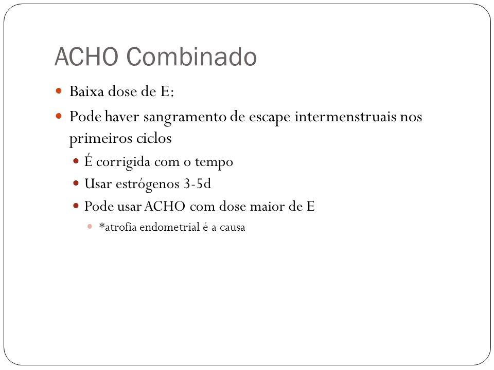 ACHO Combinado Baixa dose de E: Pode haver sangramento de escape intermenstruais nos primeiros ciclos É corrigida com o tempo Usar estrógenos 3-5d Pod