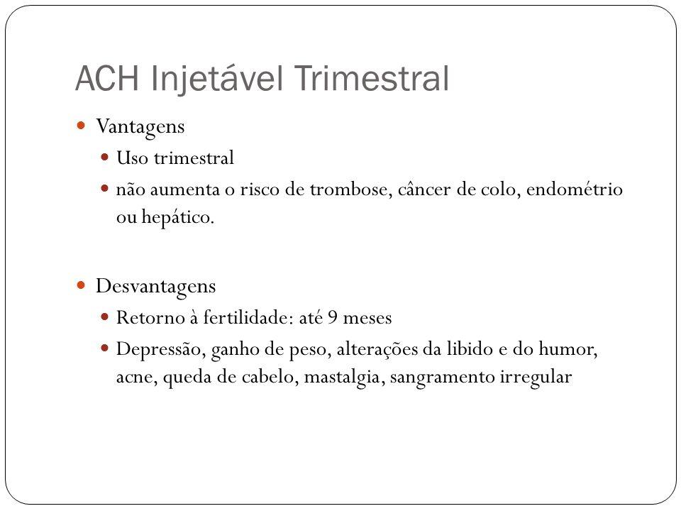 ACH Injetável Trimestral Vantagens Uso trimestral não aumenta o risco de trombose, câncer de colo, endométrio ou hepático. Desvantagens Retorno à fert