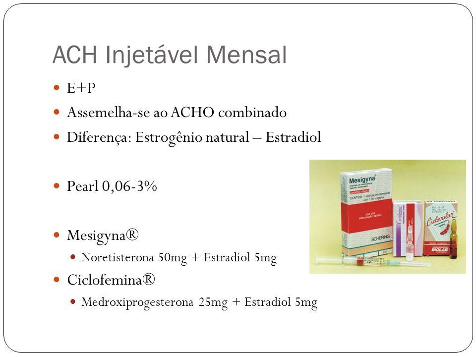 ACH Injetável Mensal E+P Assemelha-se ao ACHO combinado Diferença: Estrogênio natural – Estradiol Pearl 0,06-3% Mesigyna® Noretisterona 50mg + Estradi