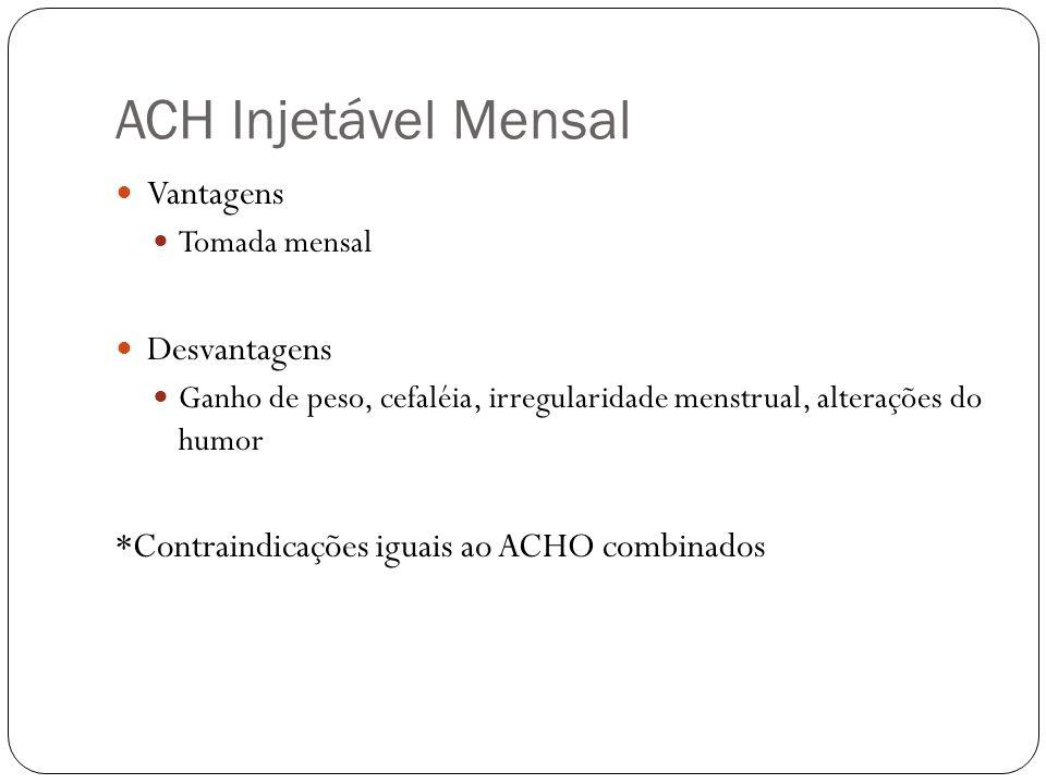 ACH Injetável Mensal Vantagens Tomada mensal Desvantagens Ganho de peso, cefaléia, irregularidade menstrual, alterações do humor *Contraindicações igu