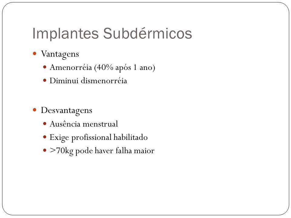 Implantes Subdérmicos Vantagens Amenorréia (40% após 1 ano) Diminui dismenorréia Desvantagens Ausência menstrual Exige profissional habilitado >70kg p