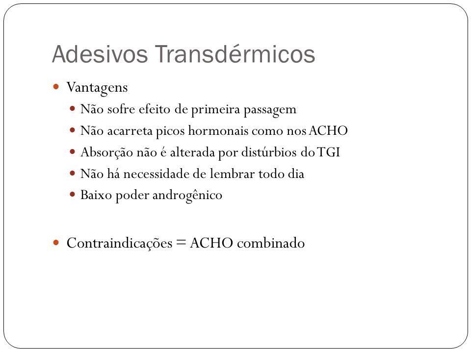 Adesivos Transdérmicos Vantagens Não sofre efeito de primeira passagem Não acarreta picos hormonais como nos ACHO Absorção não é alterada por distúrbi