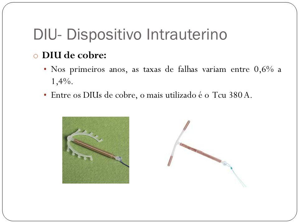 DIU- Dispositivo Intrauterino o DIU de cobre: Nos primeiros anos, as taxas de falhas variam entre 0,6% a 1,4%. Entre os DIUs de cobre, o mais utilizad
