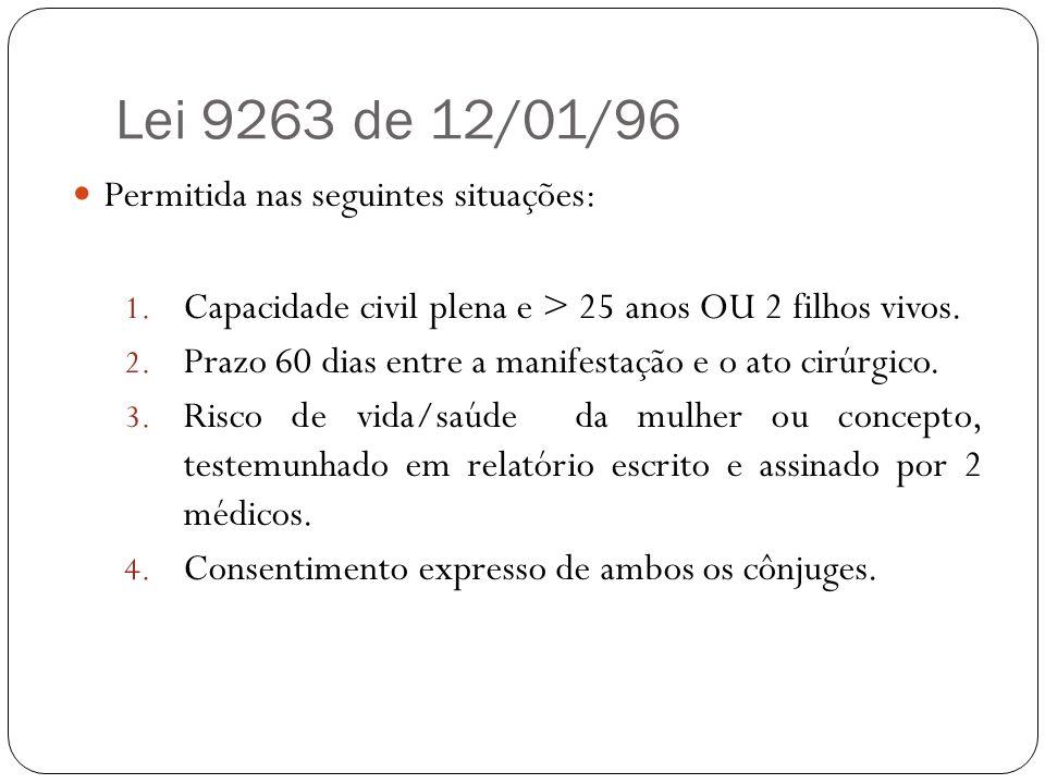 Lei 9263 de 12/01/96 Permitida nas seguintes situações: 1. Capacidade civil plena e > 25 anos OU 2 filhos vivos. 2. Prazo 60 dias entre a manifestação