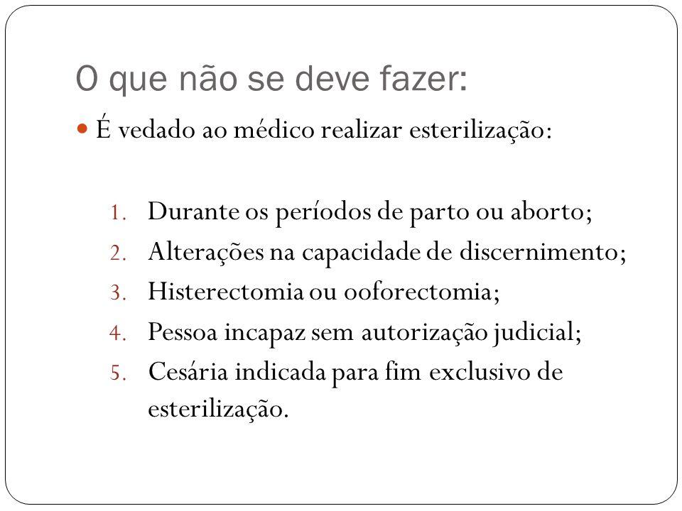 O que não se deve fazer: É vedado ao médico realizar esterilização: 1. Durante os períodos de parto ou aborto; 2. Alterações na capacidade de discerni