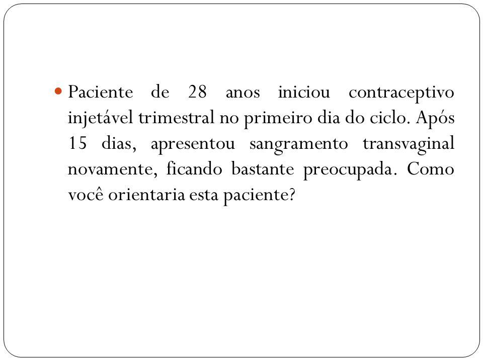 Paciente de 28 anos iniciou contraceptivo injetável trimestral no primeiro dia do ciclo. Após 15 dias, apresentou sangramento transvaginal novamente,