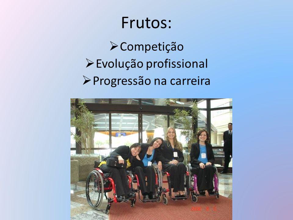 Frutos:  Competição  Evolução profissional  Progressão na carreira
