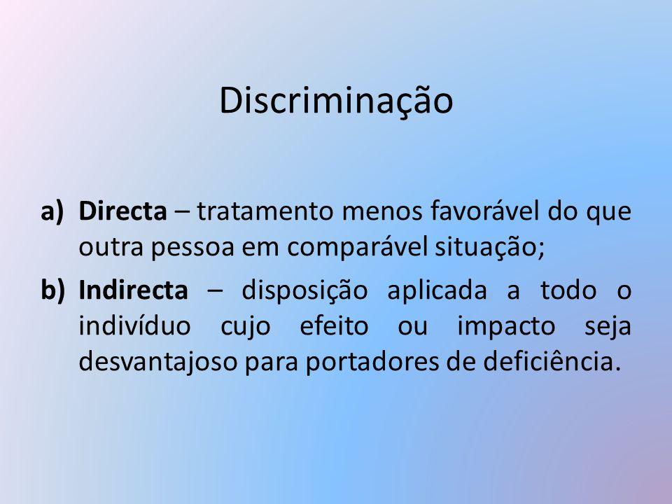 Discriminação a)Directa – tratamento menos favorável do que outra pessoa em comparável situação; b)Indirecta – disposição aplicada a todo o indivíduo