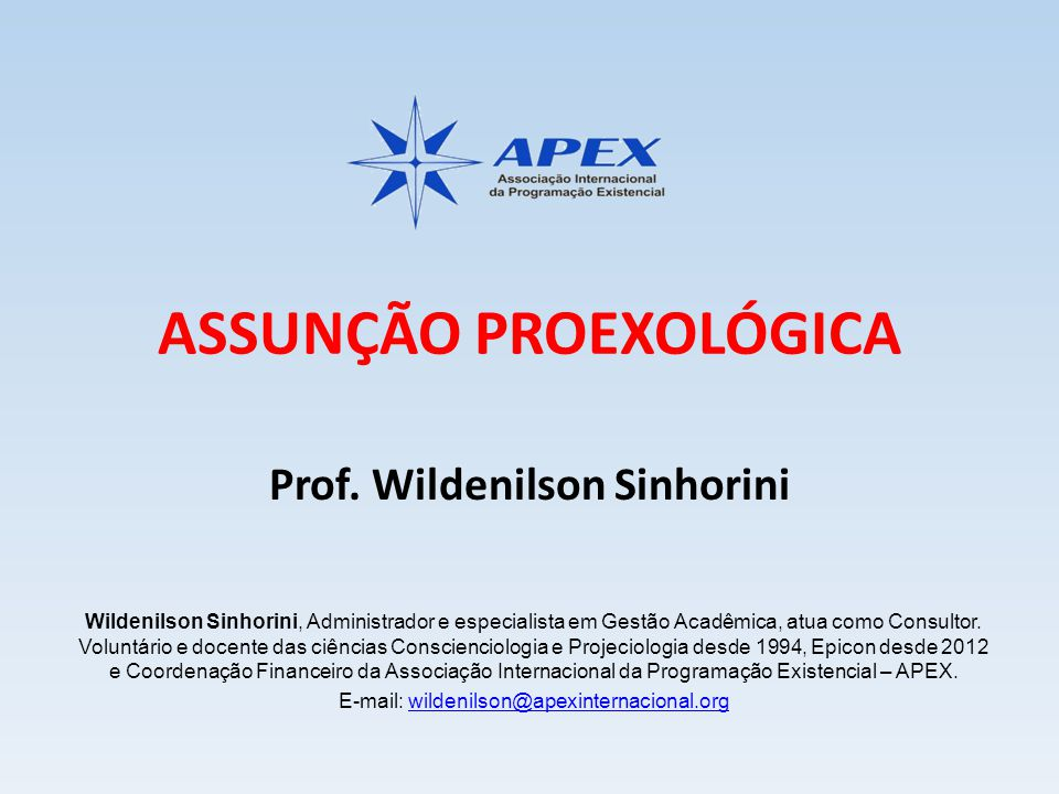 Conferência On-line: ASSUNÇÃO PROEXOLÓGICA PRÓXIMOS EVENTOS DA APEX