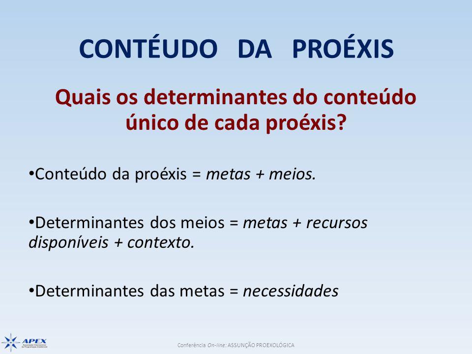 Conferência On-line: ASSUNÇÃO PROEXOLÓGICA CONTÉUDO DA PROÉXIS Quais os determinantes do conteúdo único de cada proéxis.