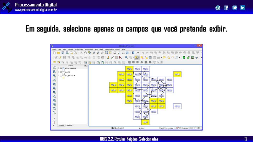 QGIS 2.2: Rotular Feições Selecionadas Processamento Digital www.processamentodigital.com.br 3 Em seguida, selecione apenas os campos que você pretend