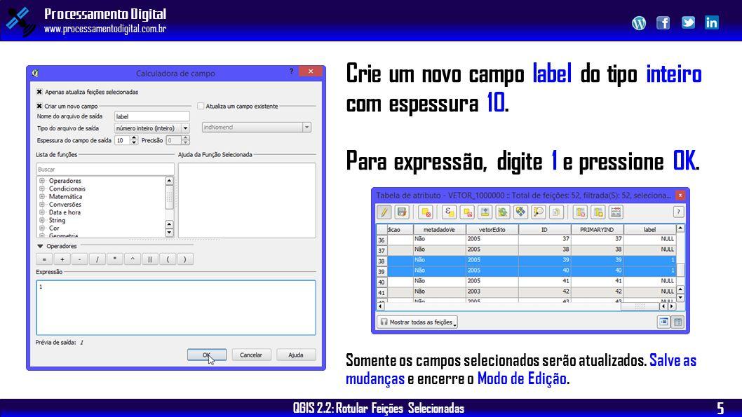 QGIS 2.2: Rotular Feições Selecionadas Processamento Digital www.processamentodigital.com.br 5 Crie um novo campo label do tipo inteiro com espessura