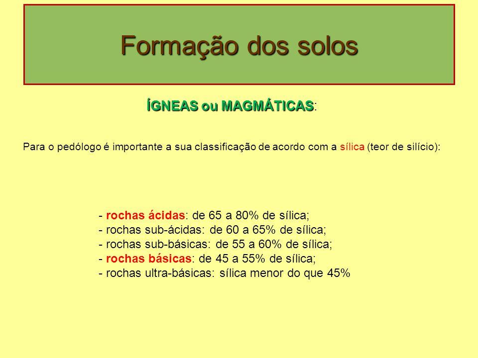 Formação dos solos ÍGNEAS ou MAGMÁTICAS ÍGNEAS ou MAGMÁTICAS: Para o pedólogo é importante a sua classificação de acordo com a sílica (teor de silício): - rochas ácidas: de 65 a 80% de sílica; - rochas sub-ácidas: de 60 a 65% de sílica; - rochas sub-básicas: de 55 a 60% de sílica; - rochas básicas: de 45 a 55% de sílica; - rochas ultra-básicas: sílica menor do que 45%