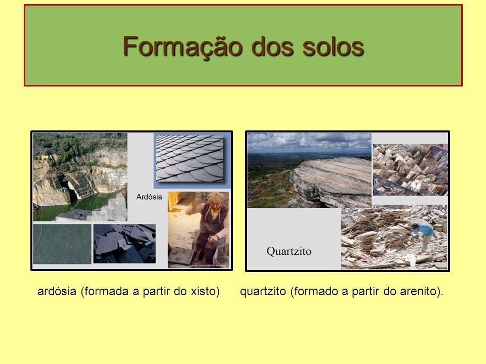 Formação dos solos ardósia (formada a partir do xisto)quartzito (formado a partir do arenito).