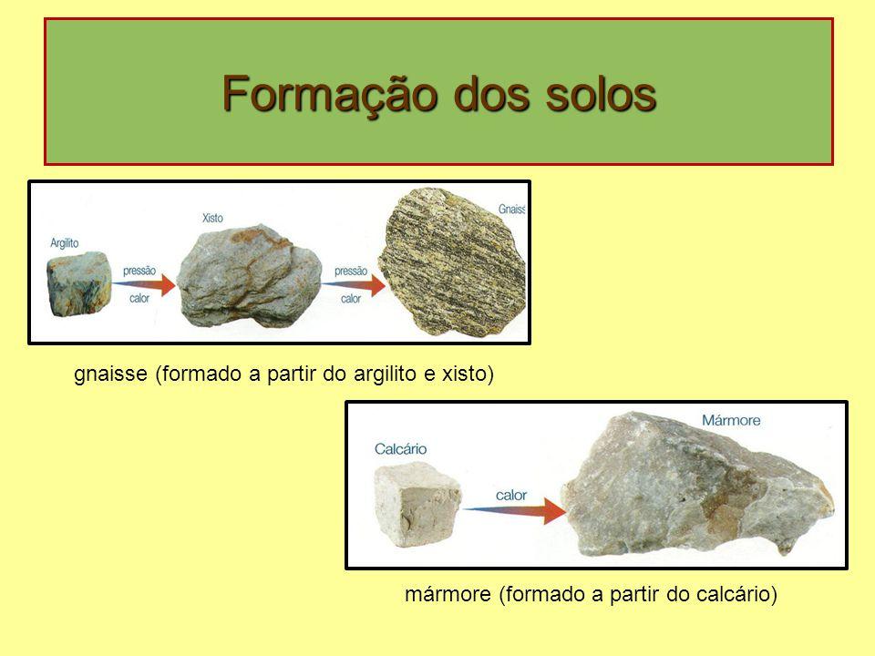 Formação dos solos gnaisse (formado a partir do argilito e xisto) mármore (formado a partir do calcário)