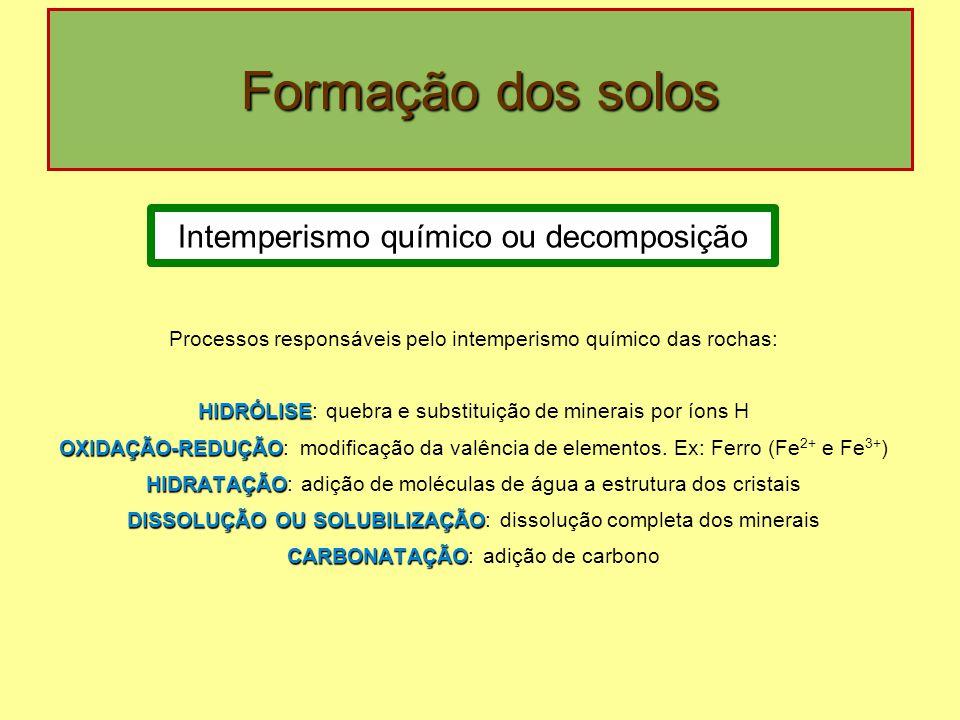 Formação dos solos Intemperismo químico ou decomposição Processos responsáveis pelo intemperismo químico das rochas: HIDRÓLISE HIDRÓLISE: quebra e sub