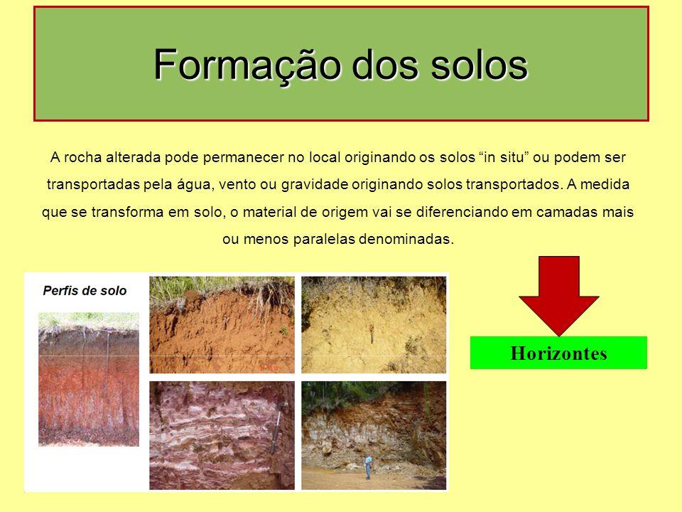 """A rocha alterada pode permanecer no local originando os solos """"in situ"""" ou podem ser transportadas pela água, vento ou gravidade originando solos tran"""