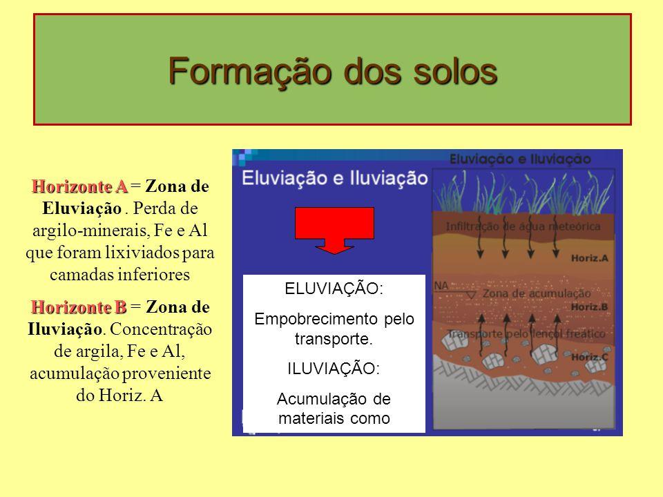 ELUVIAÇÃO: Empobrecimento pelo transporte. ILUVIAÇÃO: Acumulação de materiais como Horizonte A Horizonte A = Zona de Eluviação. Perda de argilo-minera