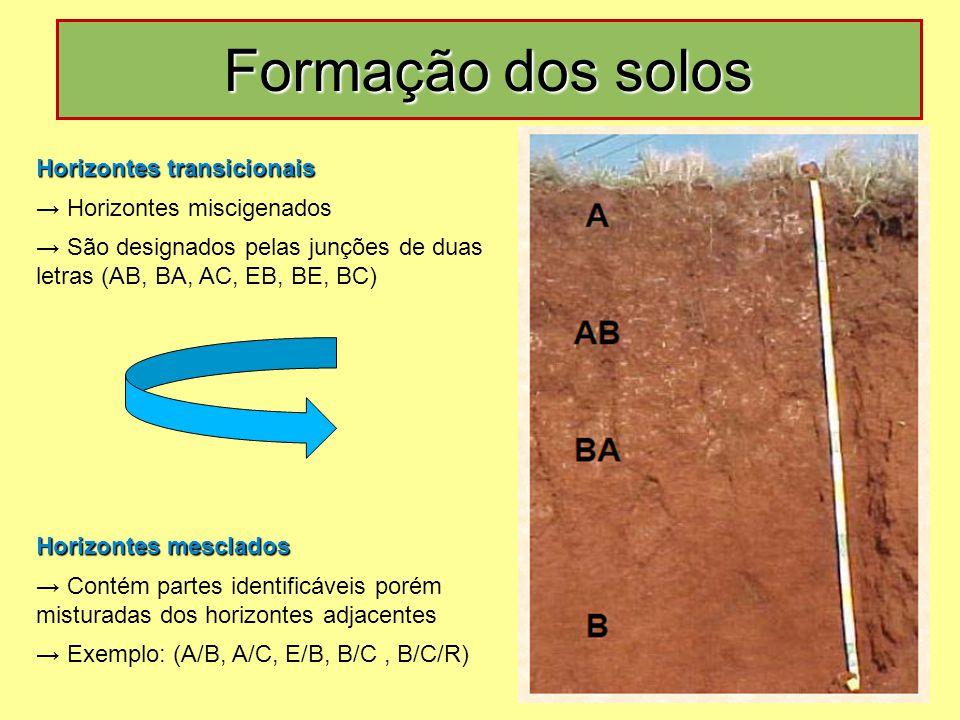 Horizontes transicionais → Horizontes miscigenados → São designados pelas junções de duas letras (AB, BA, AC, EB, BE, BC) Horizontes mesclados → Conté