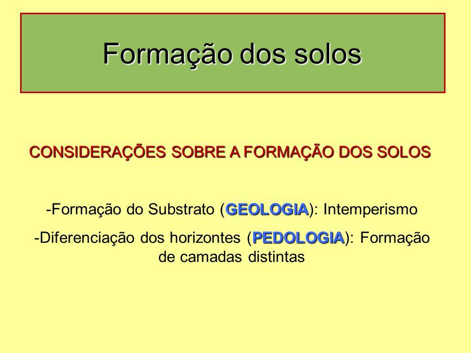 Formação dos solos CONSIDERAÇÕES SOBRE A FORMAÇÃO DOS SOLOS GEOLOGIA -Formação do Substrato (GEOLOGIA): Intemperismo PEDOLOGIA -Diferenciação dos horizontes (PEDOLOGIA): Formação de camadas distintas