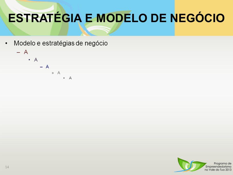 ESTRATÉGIA E MODELO DE NEGÓCIO Modelo e estratégias de negócio –A A –A »A A 14