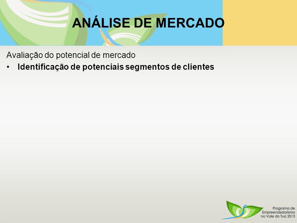 Avaliação do potencial de mercado Identificação de potenciais segmentos de clientes