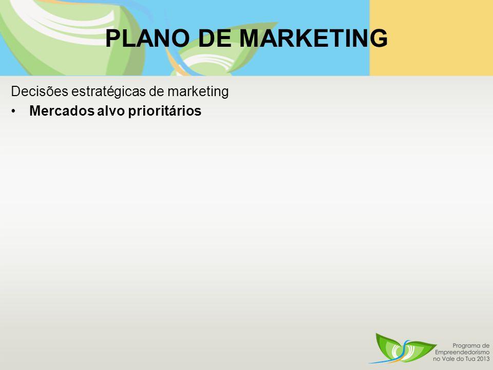 Decisões estratégicas de marketing Mercados alvo prioritários
