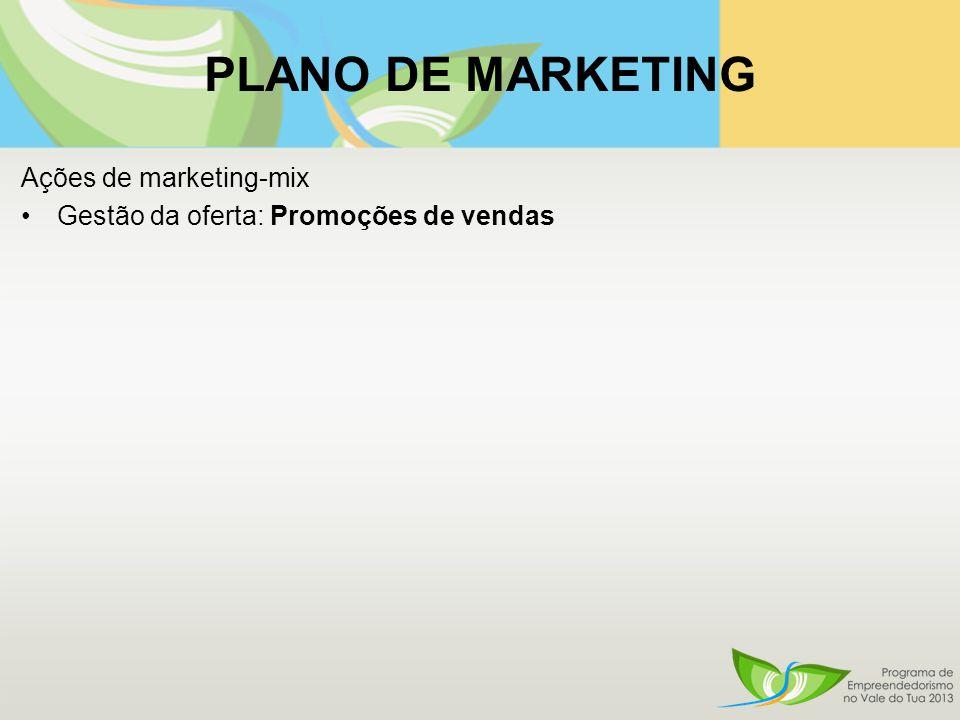 PLANO DE MARKETING Ações de marketing-mix Gestão da oferta: Promoções de vendas