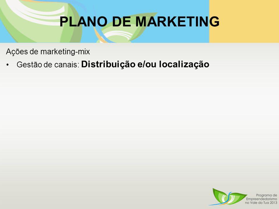 PLANO DE MARKETING Ações de marketing-mix Gestão de canais: Distribuição e/ou localização
