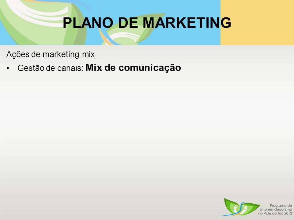 PLANO DE MARKETING Ações de marketing-mix Gestão de canais: Mix de comunicação