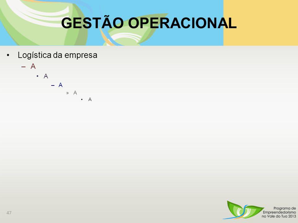 GESTÃO OPERACIONAL Logística da empresa –A A –A »A A 47