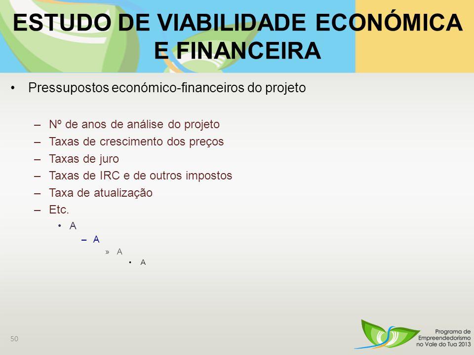 Pressupostos económico-financeiros do projeto –Nº de anos de análise do projeto –Taxas de crescimento dos preços –Taxas de juro –Taxas de IRC e de outros impostos –Taxa de atualização –Etc.