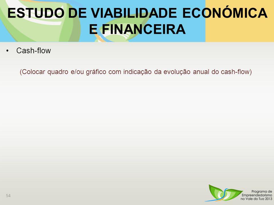 ESTUDO DE VIABILIDADE ECONÓMICA E FINANCEIRA Cash-flow (Colocar quadro e/ou gráfico com indicação da evolução anual do cash-flow) 54