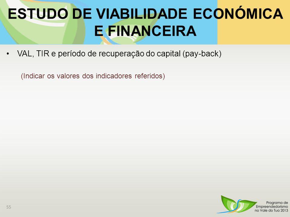 ESTUDO DE VIABILIDADE ECONÓMICA E FINANCEIRA VAL, TIR e período de recuperação do capital (pay-back) (Indicar os valores dos indicadores referidos) 55