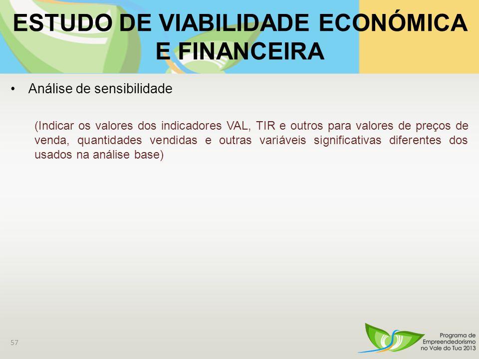 ESTUDO DE VIABILIDADE ECONÓMICA E FINANCEIRA Análise de sensibilidade (Indicar os valores dos indicadores VAL, TIR e outros para valores de preços de