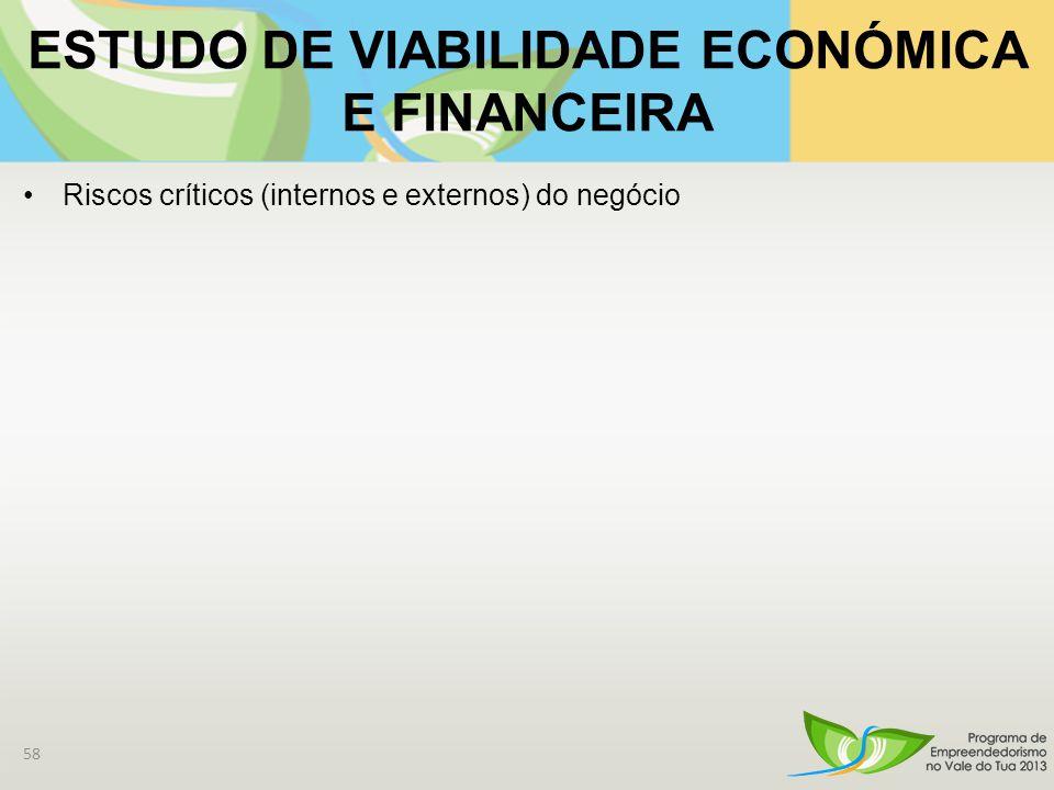 ESTUDO DE VIABILIDADE ECONÓMICA E FINANCEIRA Riscos críticos (internos e externos) do negócio 58