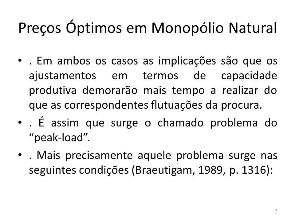 Preços Óptimos em Monopólio Natural. Em ambos os casos as implicações são que os ajustamentos em termos de capacidade produtiva demorarão mais tempo a