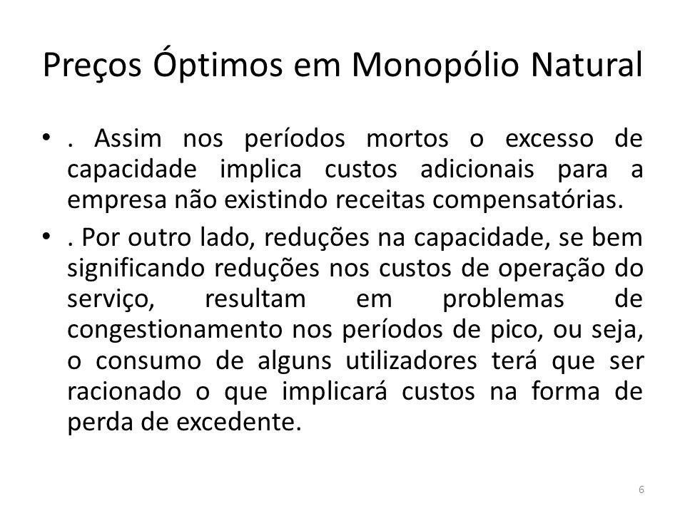 Preços Óptimos em Monopólio Natural. Assim nos períodos mortos o excesso de capacidade implica custos adicionais para a empresa não existindo receitas