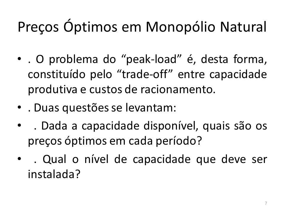 """Preços Óptimos em Monopólio Natural. O problema do """"peak-load"""" é, desta forma, constituído pelo """"trade-off"""" entre capacidade produtiva e custos de rac"""