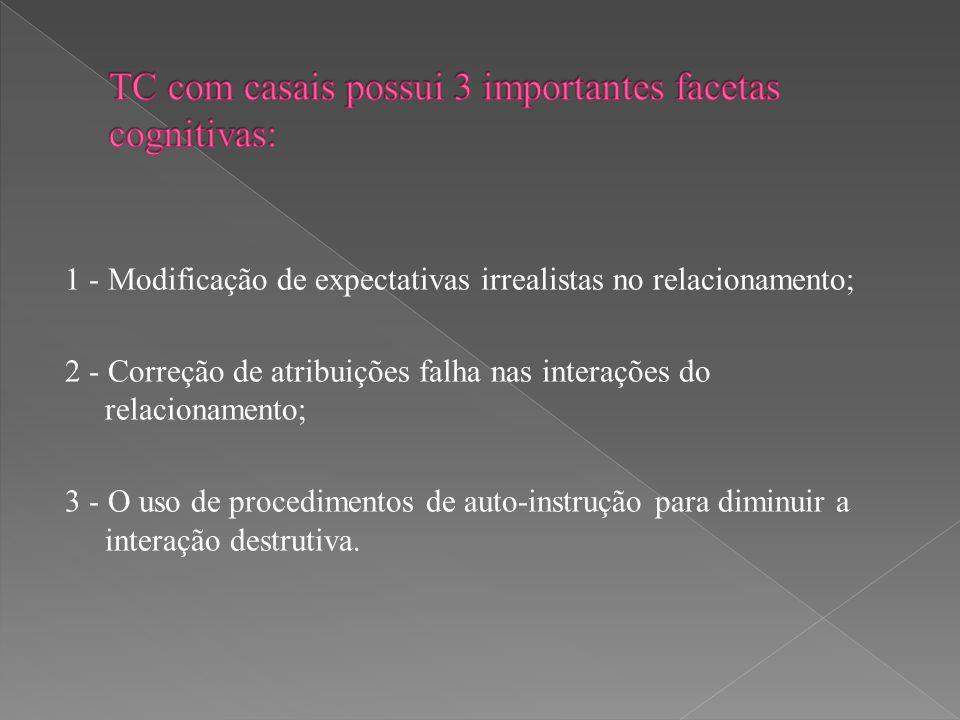 1 - Modificação de expectativas irrealistas no relacionamento; 2 - Correção de atribuições falha nas interações do relacionamento; 3 - O uso de proced