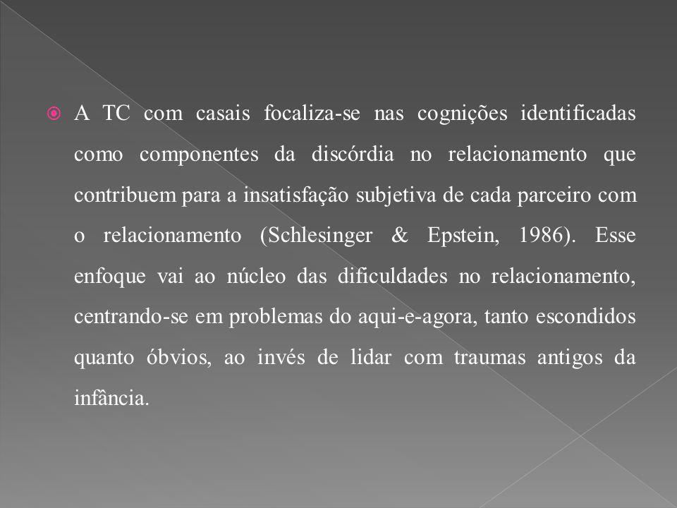  A TC com casais focaliza-se nas cognições identificadas como componentes da discórdia no relacionamento que contribuem para a insatisfação subjetiva
