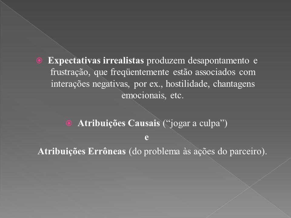  Expectativas irrealistas produzem desapontamento e frustração, que freqüentemente estão associados com interações negativas, por ex., hostilidade, c