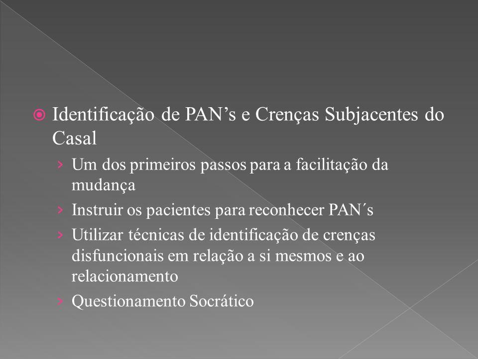  Identificação de PAN's e Crenças Subjacentes do Casal › Um dos primeiros passos para a facilitação da mudança › Instruir os pacientes para reconhece