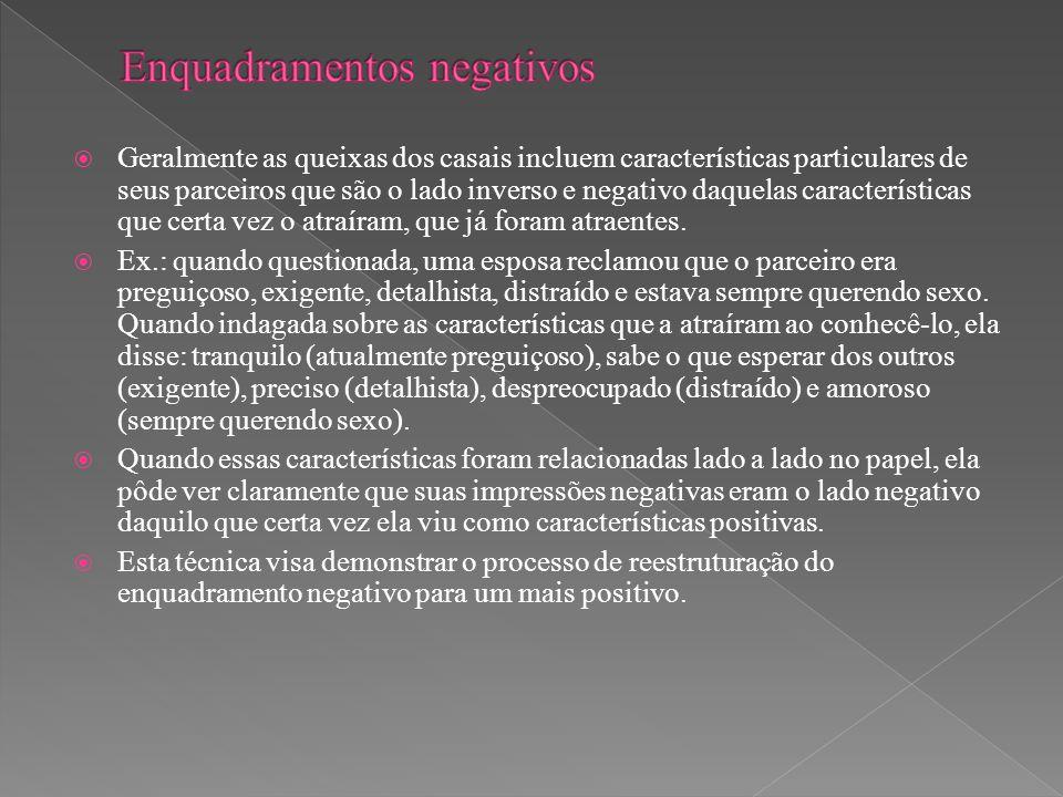  Geralmente as queixas dos casais incluem características particulares de seus parceiros que são o lado inverso e negativo daquelas características q