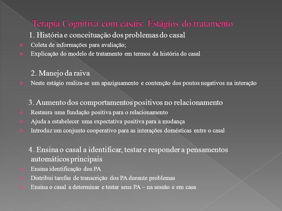 1. História e conceituação dos problemas do casal  Coleta de informações para avaliação;  Explicação do modelo de tratamento em termos da história d